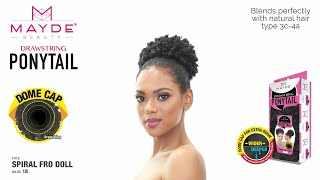 Mayde Beauty Drawstring Ponytail - Spiral Fro Doll // Easy ponytail styling