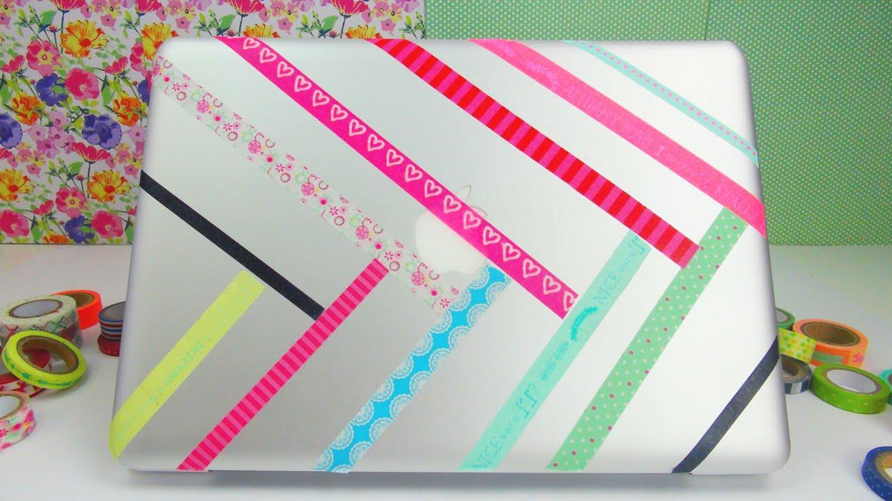 laptop aufkleber diy notebook macbook mit washi tape versch nern bekleben anleitung. Black Bedroom Furniture Sets. Home Design Ideas