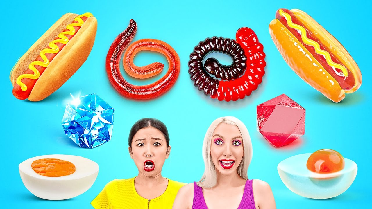 REAL FOOD VS GUMMY FOOD || Eating World's Largest Gummy Worm! GIANT FOOD Tasting by 123 GO!CHALLENGE