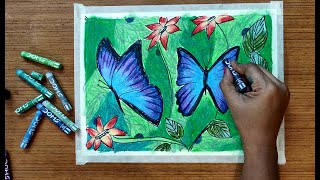 Butterfly and flowers drawing and Painting with Oil Pastels | Easy Art Lesson