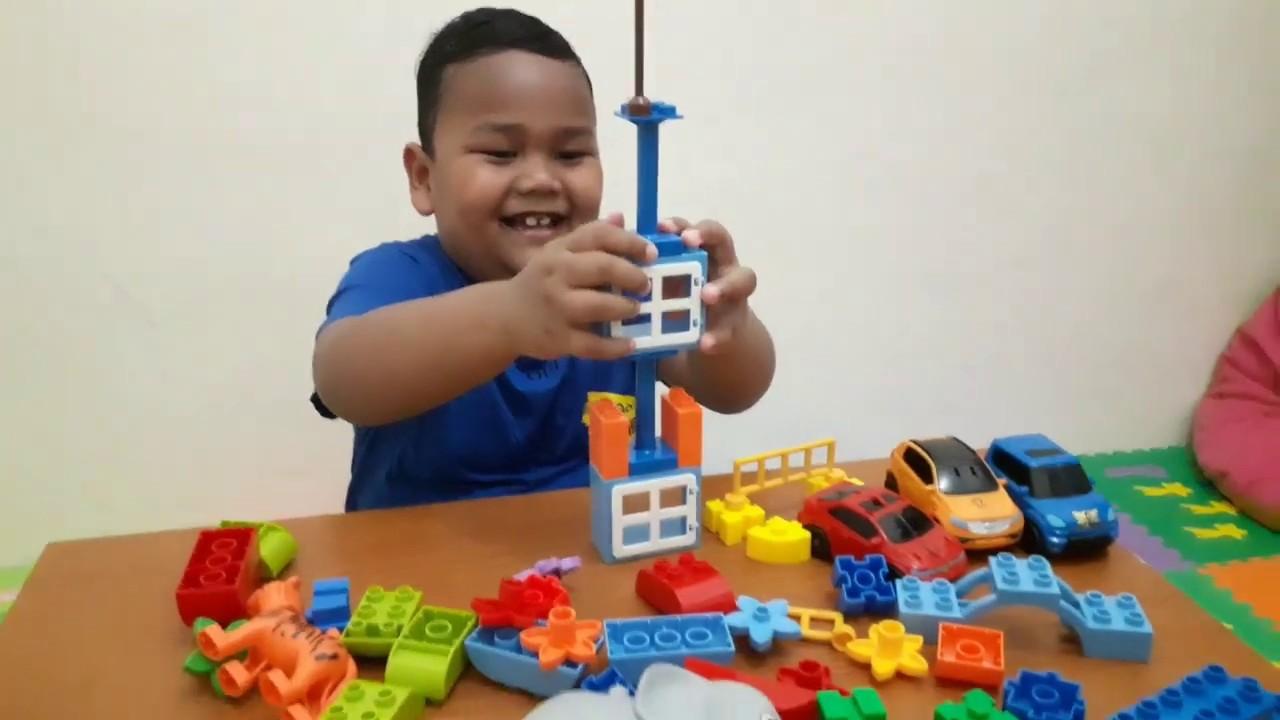 Bermain lego membuat rumah dan kebun II playing lego ...