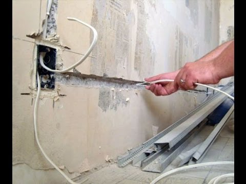 Электропроводка. Прокладка проводов в бетонной стене. Установка подрозетника.