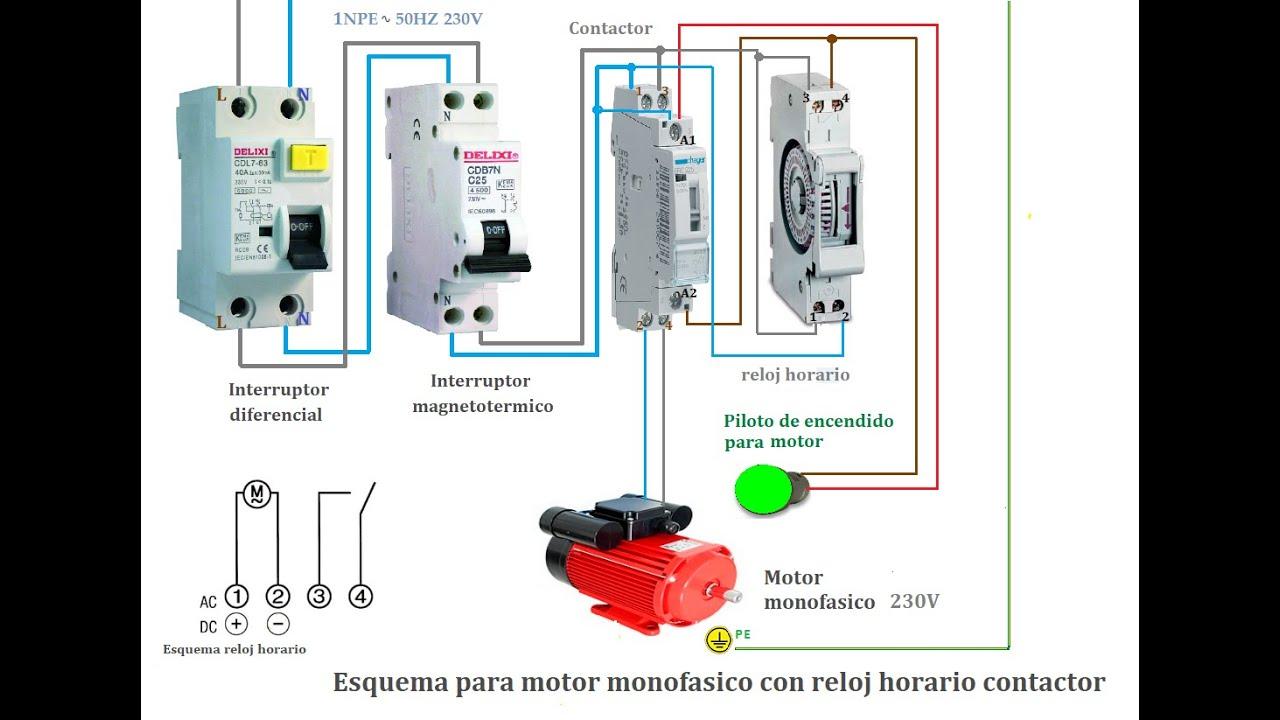 Esquema Para Motor Monofasico Con Reloj Horario Contactor Youtube