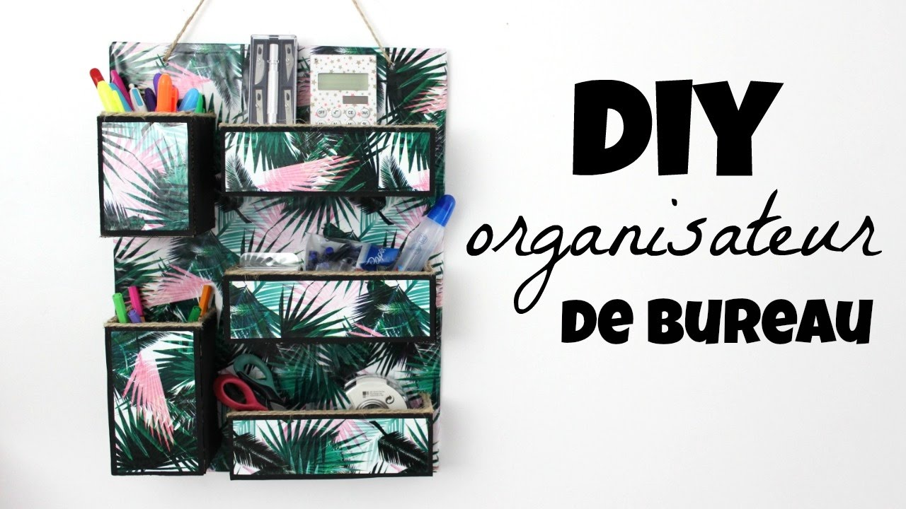 diy organisateur de bureau mural youtube. Black Bedroom Furniture Sets. Home Design Ideas