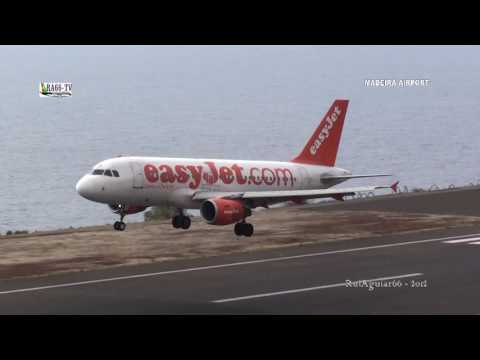 Aviões Pousando ao Extremo no Aeroporto da Madeira Perigo