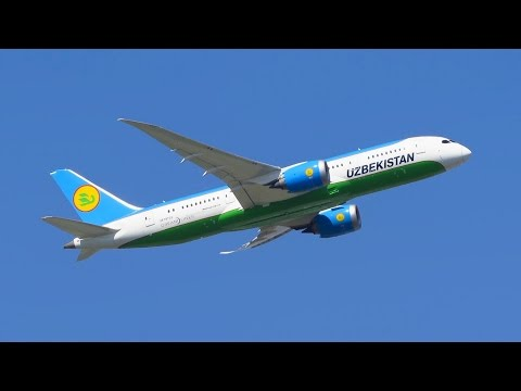 Uzbekistan Airways Boeing 787-8 Dreamliner [UK78702] Takeoff from Frankfurt Airport (FRA) [Full HD]