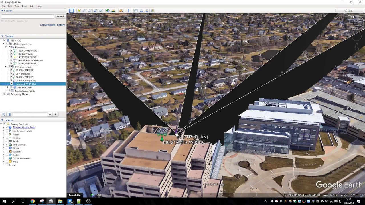 Point to Point Networking Line of Sight in Google Earth