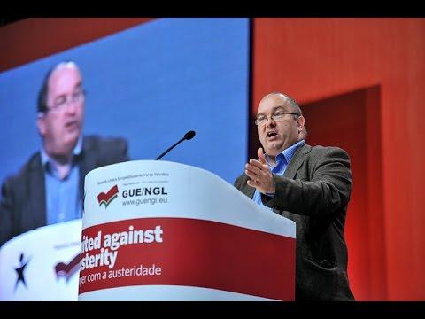 """Trevor Ó Clochartaigh no comício """"Unidos Contra a Austeridade"""""""