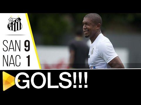 Santos 9 x 1 Nacional-SP | GOLS | Jogo-treino (25/01/17)