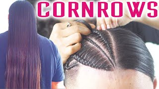 Cornrows on LONG SILKY HAIR - sped up