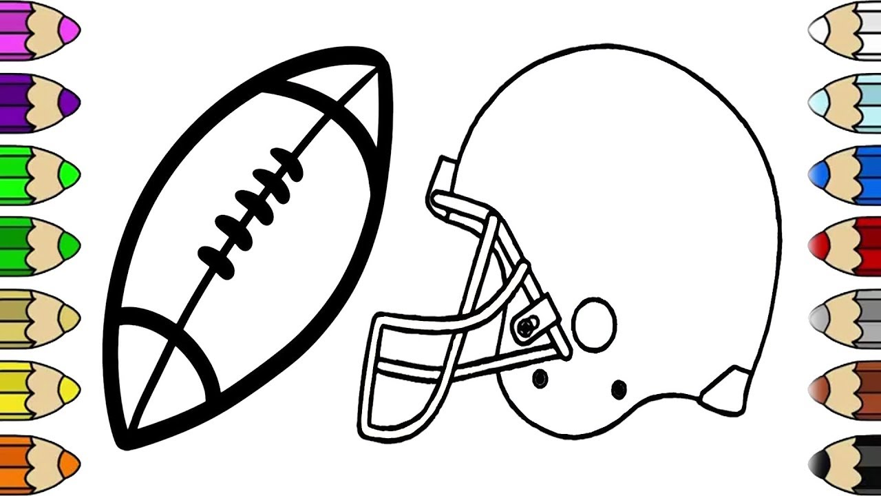How to Draw NFL Football with Helmet Coloring Pages For Kids - YouTube