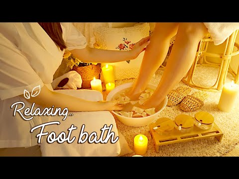 ASMR Relaxing Foot Bath for Your Tired Feet💛 gentle foot massage