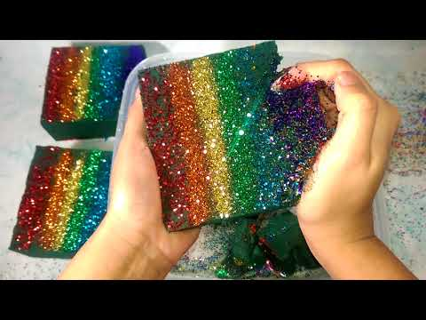Rainbow colored wet floral foam crushing