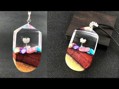 Amazing Colour wood stones flower pendant  Resin art jewelry  epoxy resin art jewelry pendant