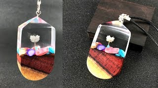 Amazing Colour wood stones flower pendant| Resin art jewelry| epoxy resin art jewelry pendant