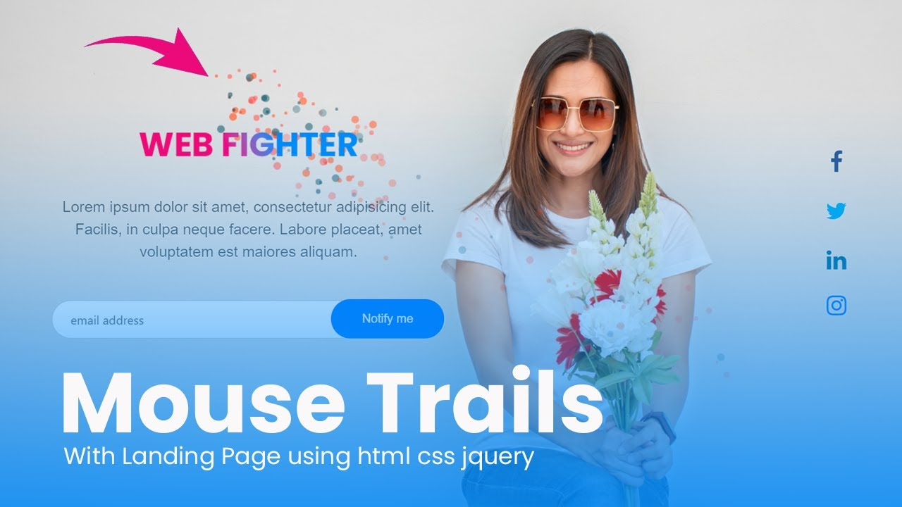 Creative Mouse Trails with Landing Page Design in HTML, CSS and JQuery