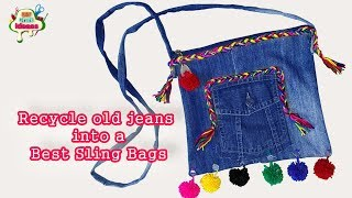 Recycle old jeans into a Best Sling Bags | diy Craft Ideas  - DIY: No-Sew Backpack from Old Jeans