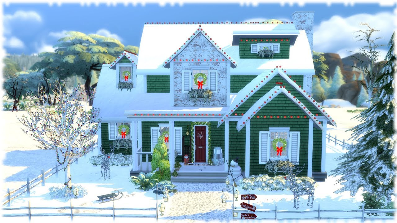 The Sims 4 Speed Build Christmas House Cc Links Youtube