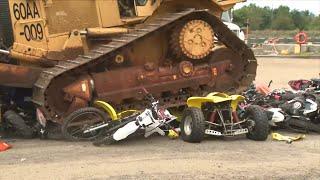 Bulldozers Crush Dozens of Illegal Dirt Bikes and ATVs