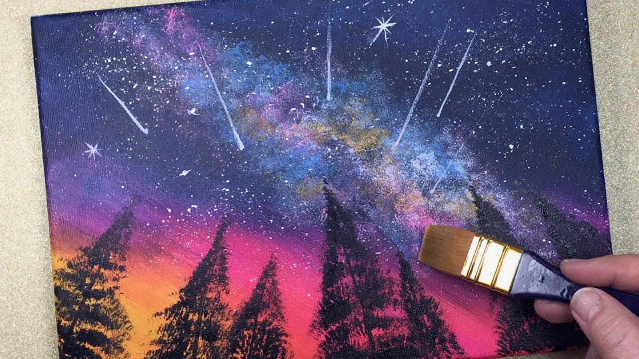 Galaxy Shooting Stars Easy Acrylic Painting 10 Mins Art Easy Painting Ideas For Beginners Youtube