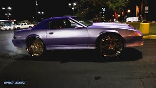 WhipAddict: Pearl Lavender Chevy Camaro IROC Convertible Burnout on 26s, Lit Custom Interior