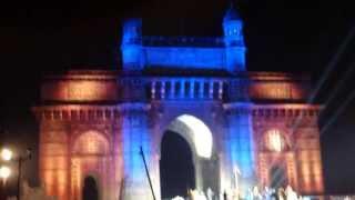 Amazing light show at Gateway of India 24th Jan 2014 - Mumbai, India - Part 2