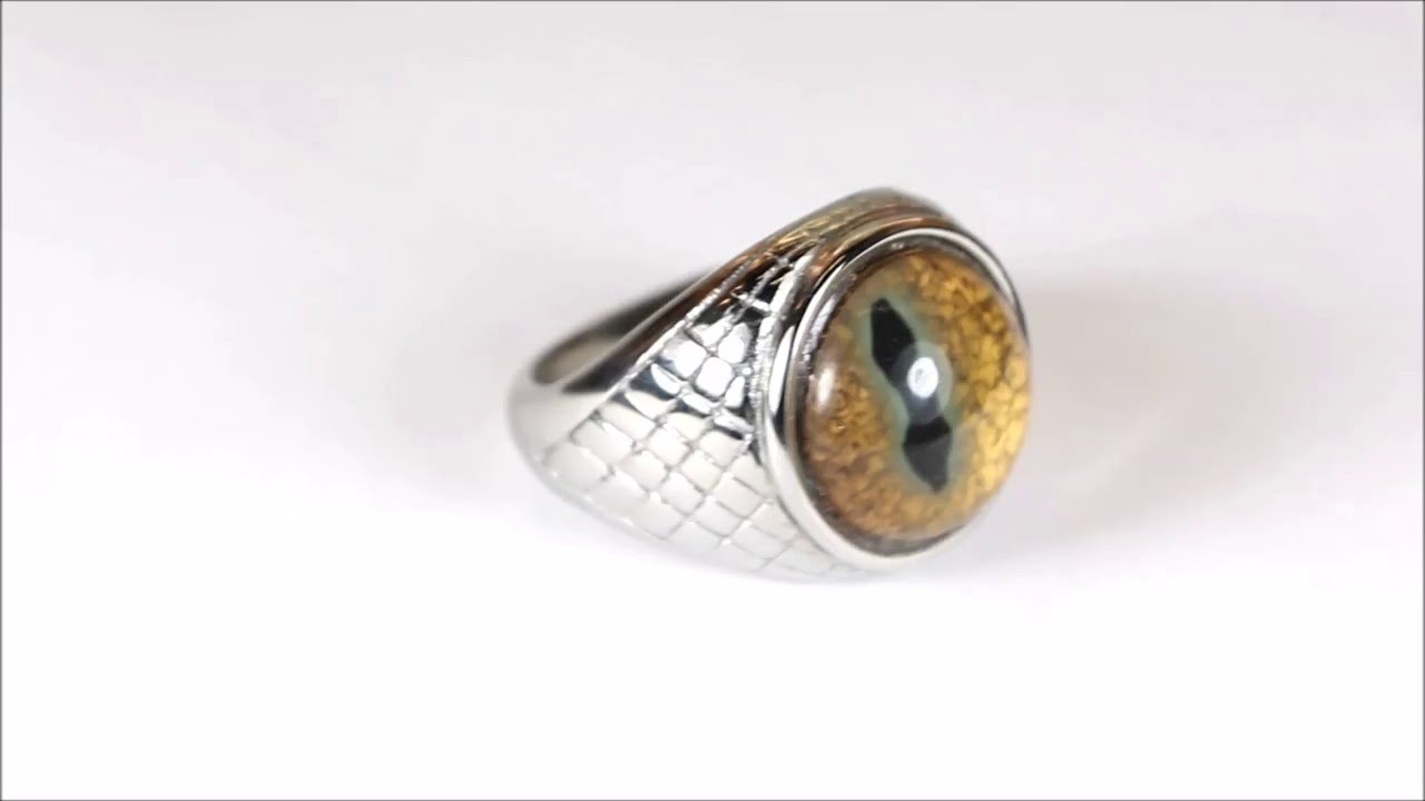 Scorch ring with handmade gold dragon eye by Steel Dragon Jewelry