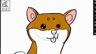 How to draw a cute shiba inu dog - Hướng dẫn vẽ chó Shiba Inu