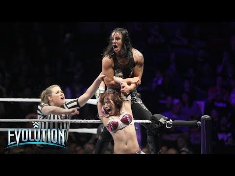 Kairi Sane launches Shayna Baszler onto NXT Superstars seated in the front row: WWE Evolution 2018