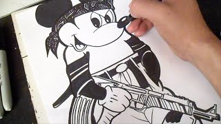 Cómo dibujar a Mickey Mouse Gangsta (Wizard) Graffiti - Special 5 mil Subs!!!
