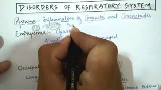 Respiratory disorders/ silicosis, asbestosis, asthma, emphysema.