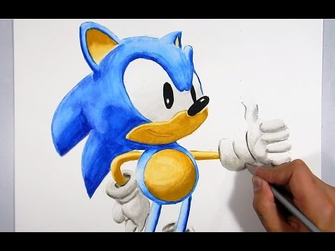 Cmo dibujar a Sonic 3D  How to draw Sonic 3D  YouTube
