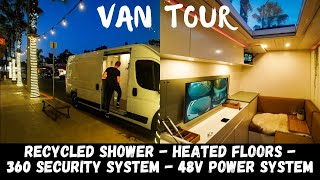 STEALTH Luxury Van T๐ur - Expandable Recirculating Shower, A/C, 48v Power
