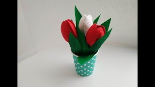 Поделки на 8 марта. Как сделать цветы из бумаги и салфеток. Подарок маме своими руками. DIY