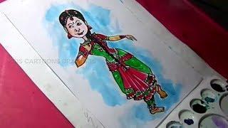 How to Draw Girl Dancing Bharatanatyam Drawing for Kids