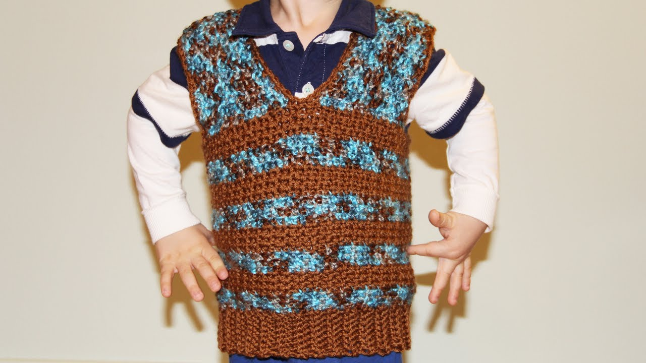 How To Crochet Boys Vest Sweater Video Tutorial For Beginners