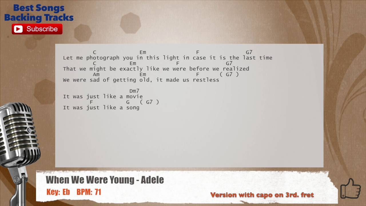When we were young adele vocal backing track with chords and when we were young adele vocal backing track with chords and lyrics hexwebz Image collections
