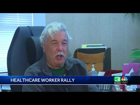 Health care workers protest outside Sacramento Kaiser