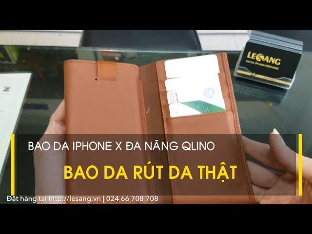 LÊ SANG   Bao da rút ?a n?ng iPhone X / XS b?ng da th?t Qlino Wallet + 5 ng?n ví ti?n l?i