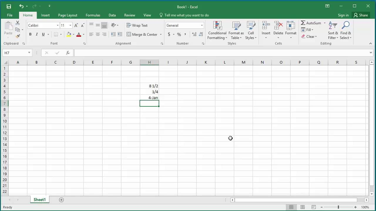 How to Enter Numbers with Fractions in a Cell in Excel 20