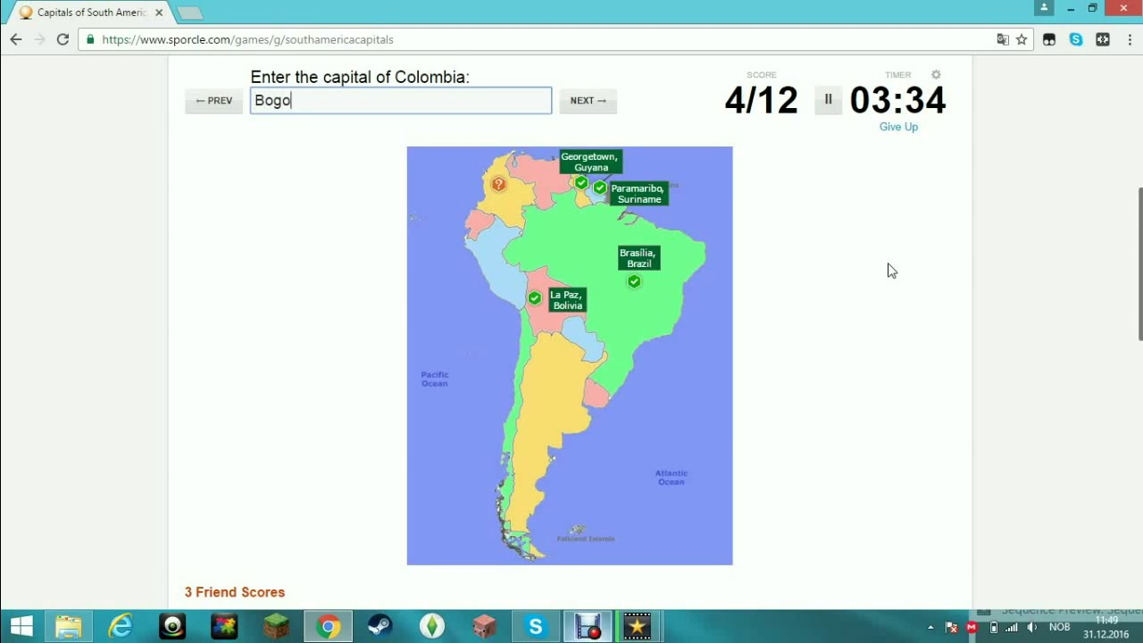 Capitals Of South America Sporcle Quizzes YouTube - Sporcle capitals