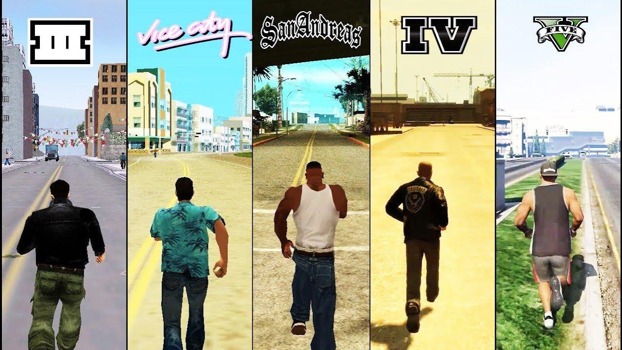 SBS Comparison of GTA games! (GTA 3 vs VC vs SA vs IV vs V)