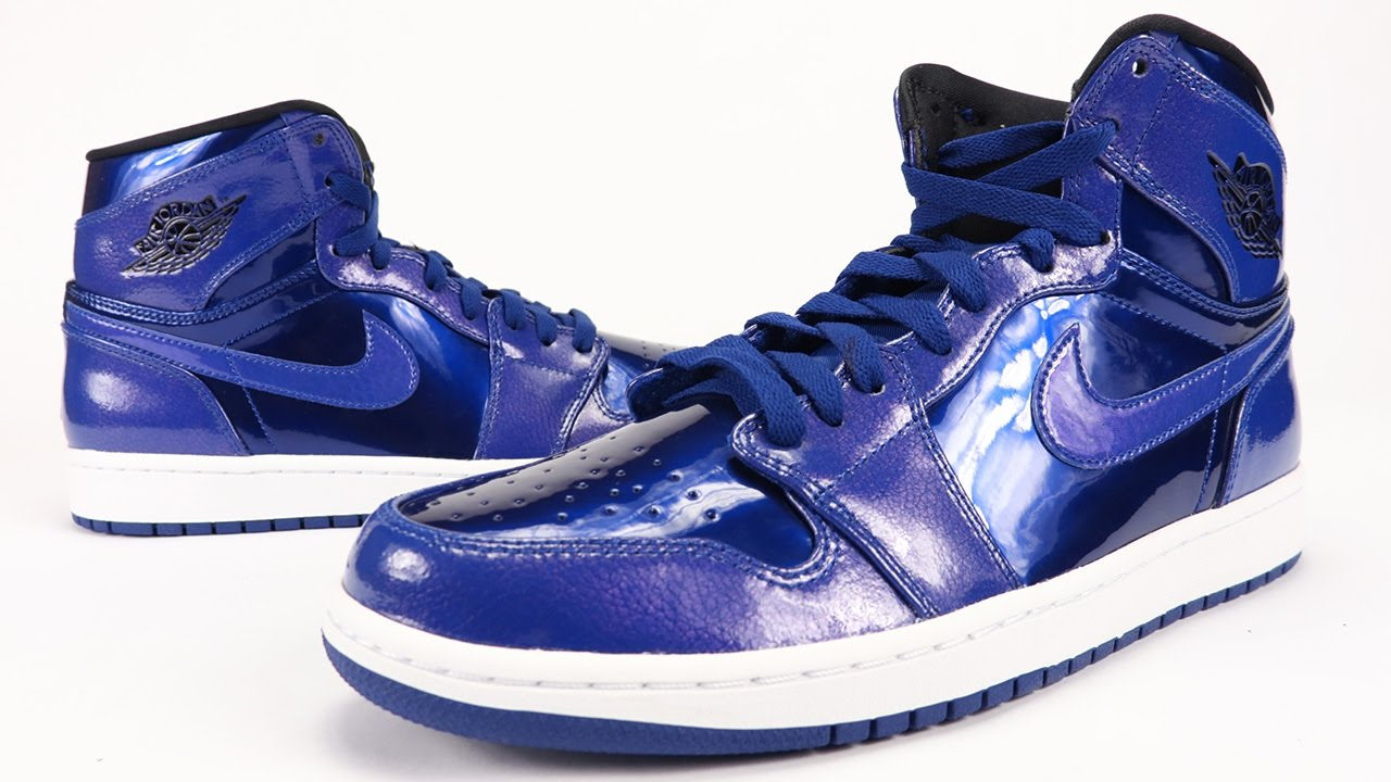 75df372374b Air Jordan 1 High Deep Royal Blue Patent Leather Review + On Feet - YouTube