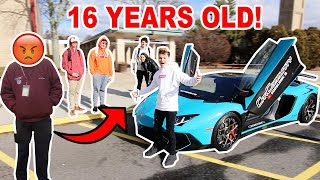 16 Year Old Drives Lamborghini To High School! *SECURITY*