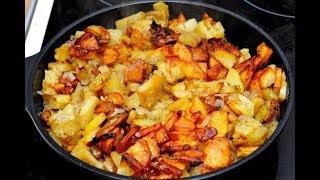 Деревенская еда//Как пожарить картошку на сковородке до золотистой корочки