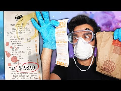 Letting TRASH CAN RECEIPTS Decide What i Eat for 24 HOURS! (IMPOSSIBLE FOOD CHALLENGE)