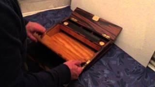 """Calamander Wood """"fisher"""" Writing Slope/ Lap Desk, C.1850."""