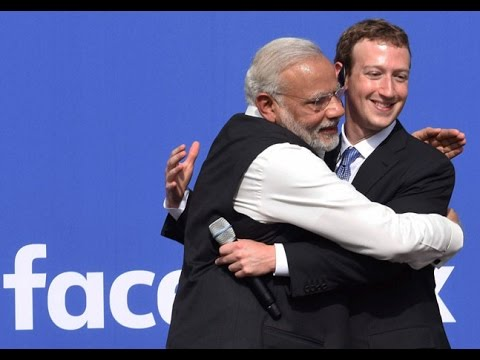 Narendra Modi & Mark Zuckerberg at Facebook HQ   Townhall Q&A   San Jose
