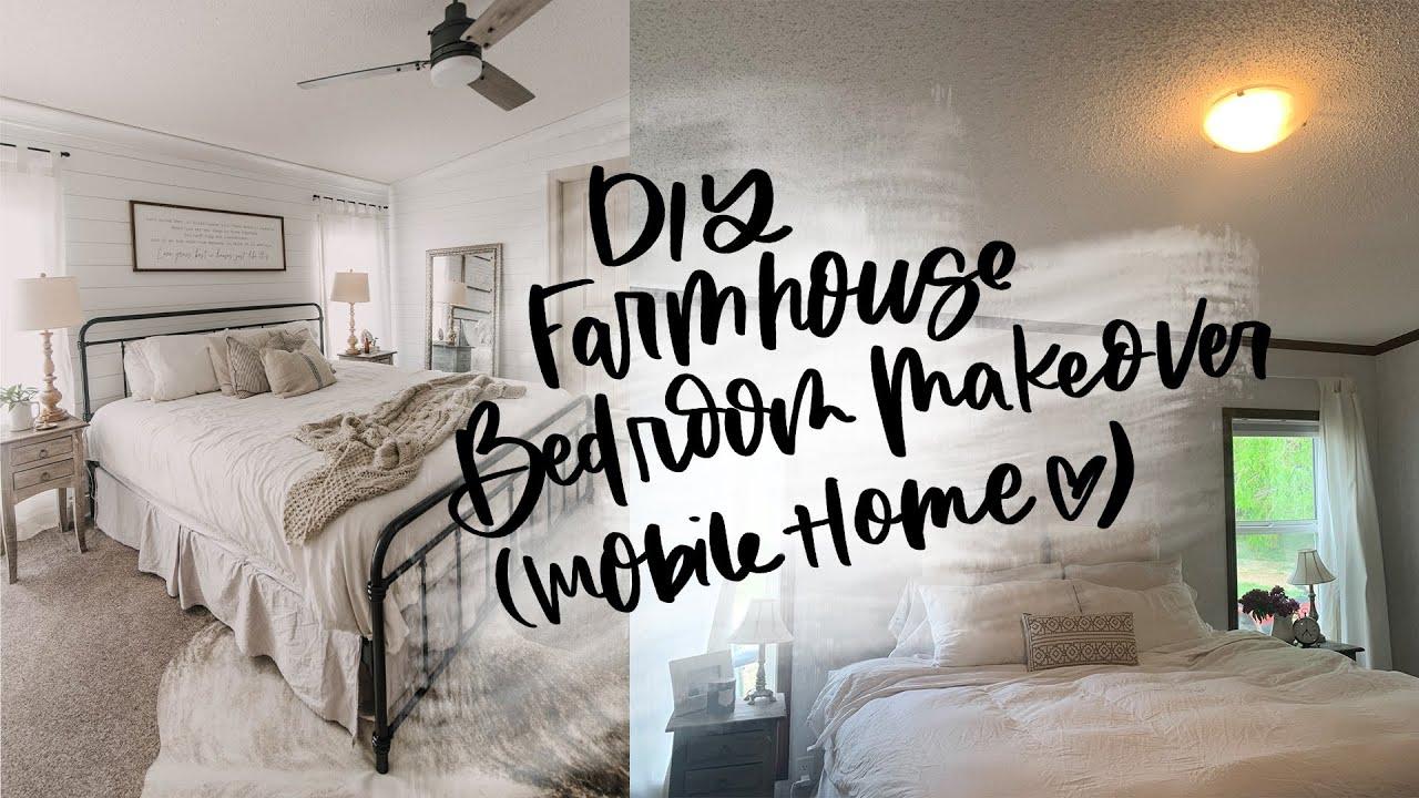 Farmhouse Bedroom Makeover Mobile Home Renovation Youtube