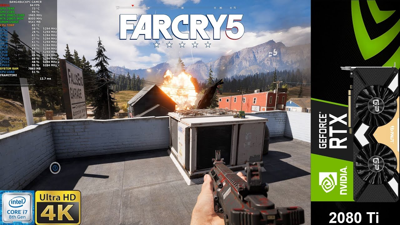 Far Cry 5 Ultra Settings HD Textures 4K | RTX 2080 Ti | i7 8700K 5 3GHz